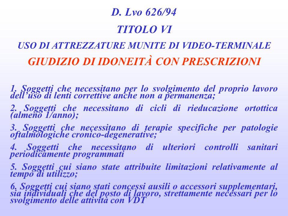 D. Lvo 626/94 TITOLO VI GIUDIZIO DI IDONEITÀ CON PRESCRIZIONI