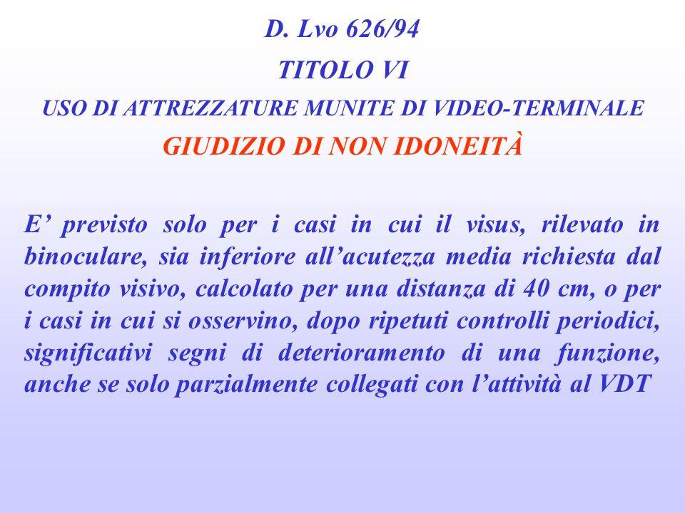 USO DI ATTREZZATURE MUNITE DI VIDEO-TERMINALE GIUDIZIO DI NON IDONEITÀ