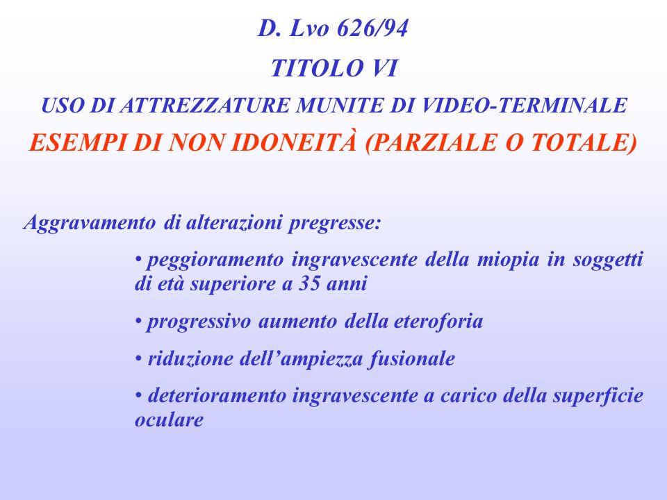 D. Lvo 626/94 TITOLO VI ESEMPI DI NON IDONEITÀ (PARZIALE O TOTALE)