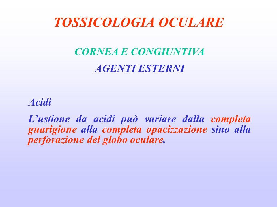 TOSSICOLOGIA OCULARE CORNEA E CONGIUNTIVA AGENTI ESTERNI Acidi