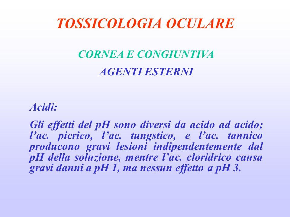 TOSSICOLOGIA OCULARE CORNEA E CONGIUNTIVA AGENTI ESTERNI Acidi: