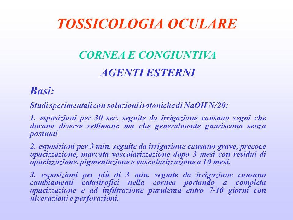 TOSSICOLOGIA OCULARE CORNEA E CONGIUNTIVA AGENTI ESTERNI Basi: