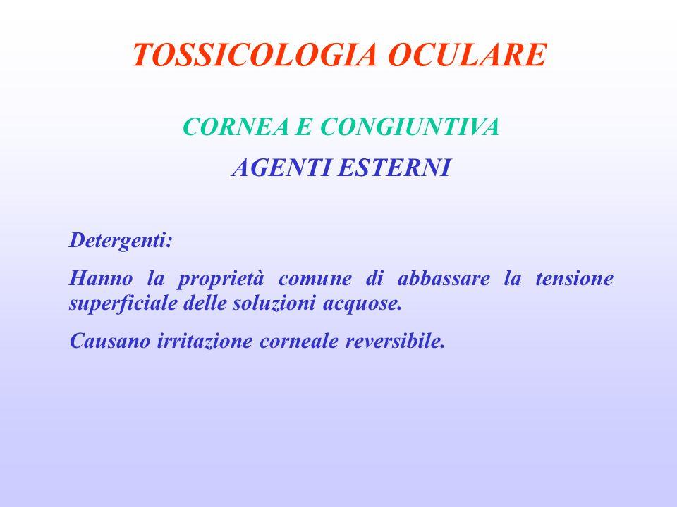 TOSSICOLOGIA OCULARE CORNEA E CONGIUNTIVA AGENTI ESTERNI Detergenti: