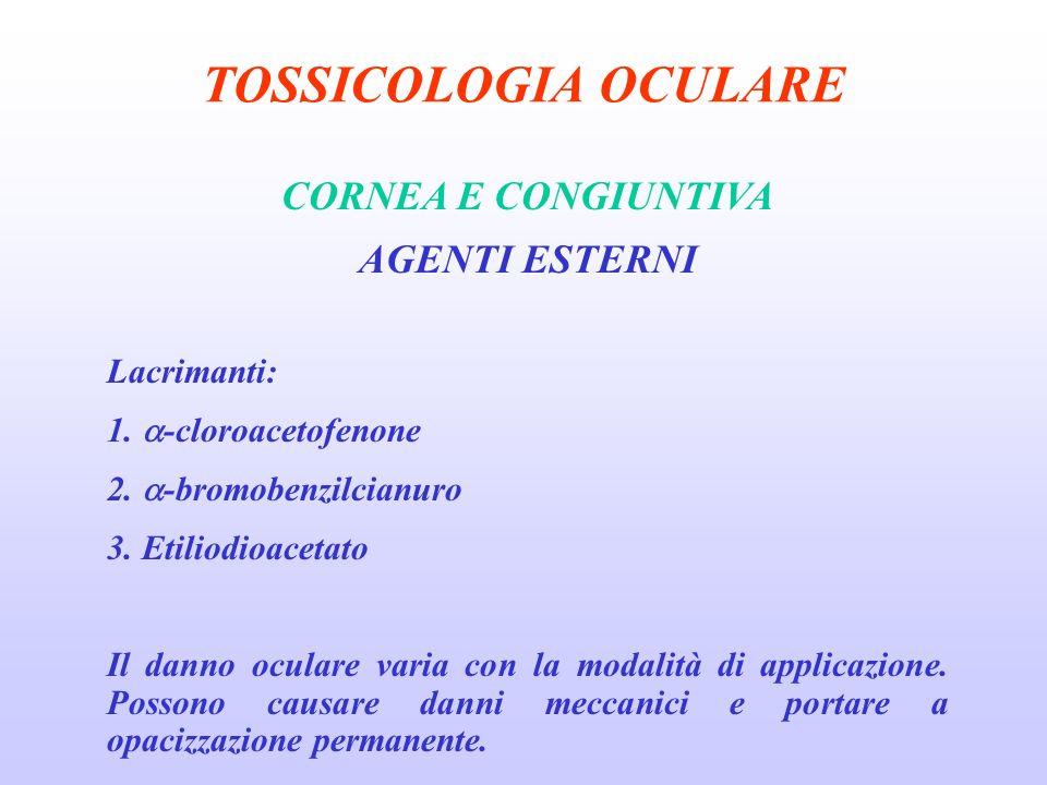 TOSSICOLOGIA OCULARE CORNEA E CONGIUNTIVA AGENTI ESTERNI Lacrimanti: