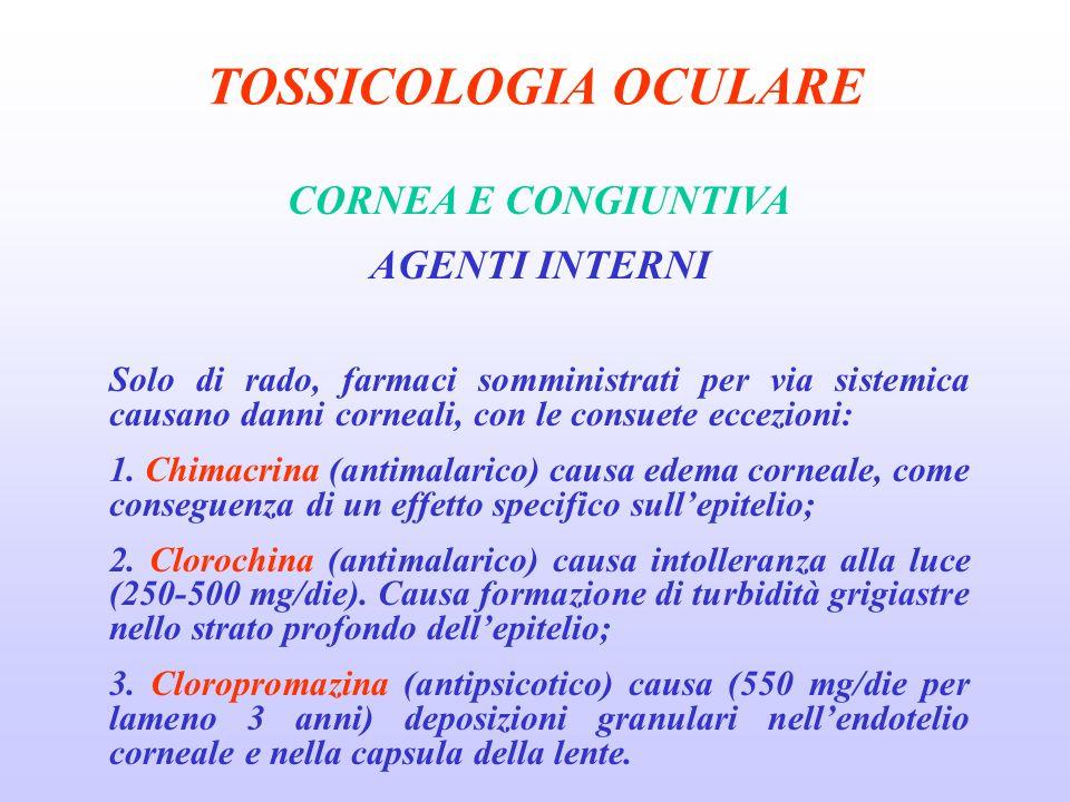 TOSSICOLOGIA OCULARE CORNEA E CONGIUNTIVA AGENTI INTERNI