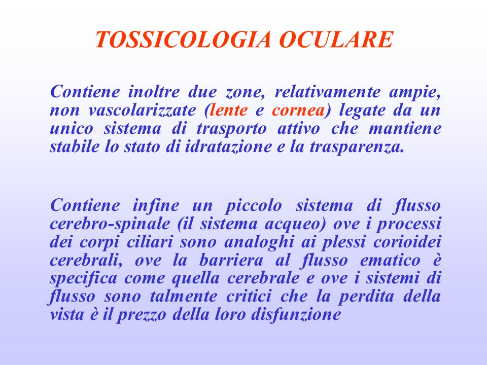 TOSSICOLOGIA OCULARE