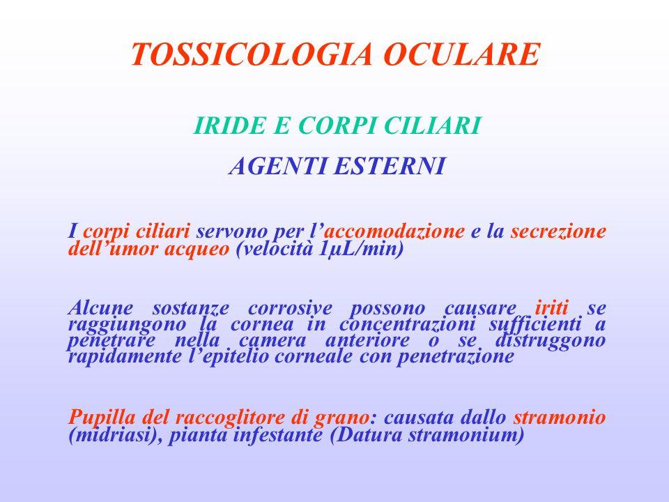 TOSSICOLOGIA OCULARE IRIDE E CORPI CILIARI AGENTI ESTERNI