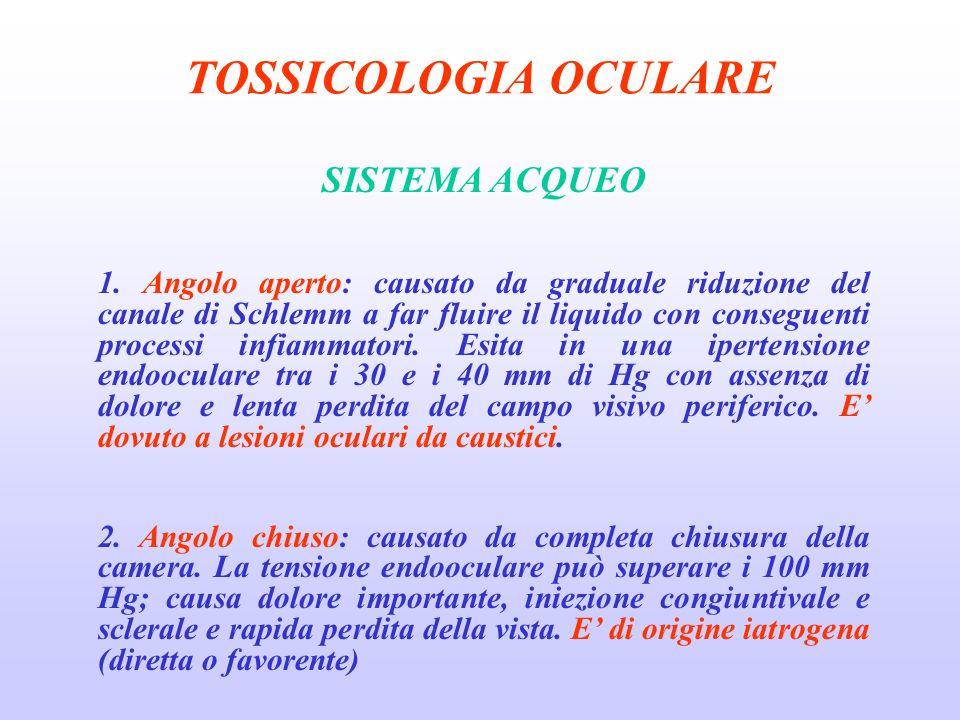 TOSSICOLOGIA OCULARE SISTEMA ACQUEO
