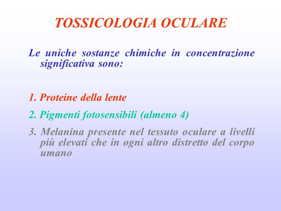 TOSSICOLOGIA OCULARE Le uniche sostanze chimiche in concentrazione significativa sono: 1. Proteine della lente.