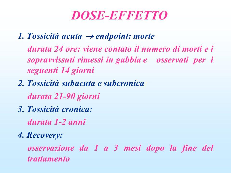 DOSE-EFFETTO 1. Tossicità acuta  endpoint: morte