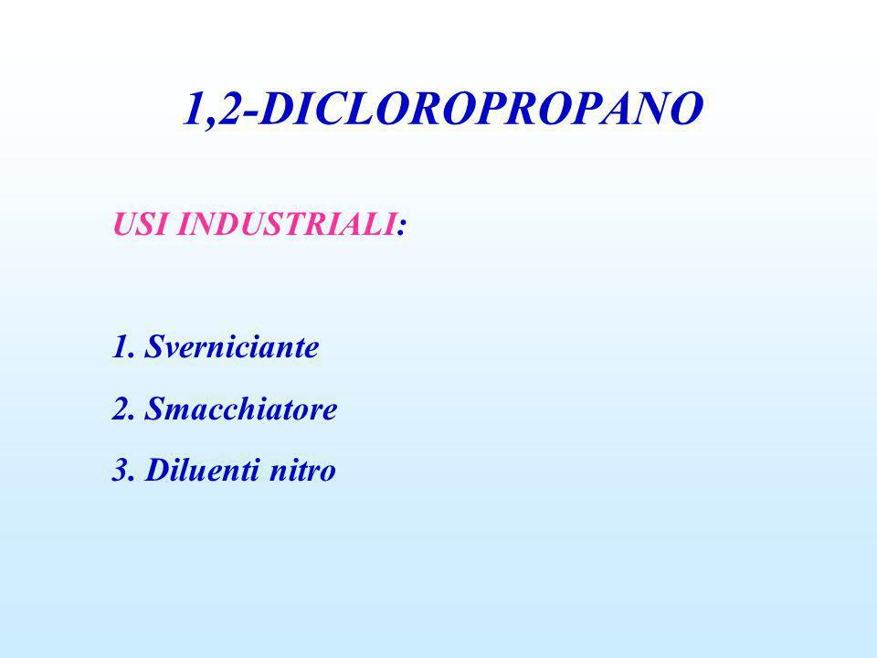 1,2-DICLOROPROPANO USI INDUSTRIALI: 1. Sverniciante 2. Smacchiatore