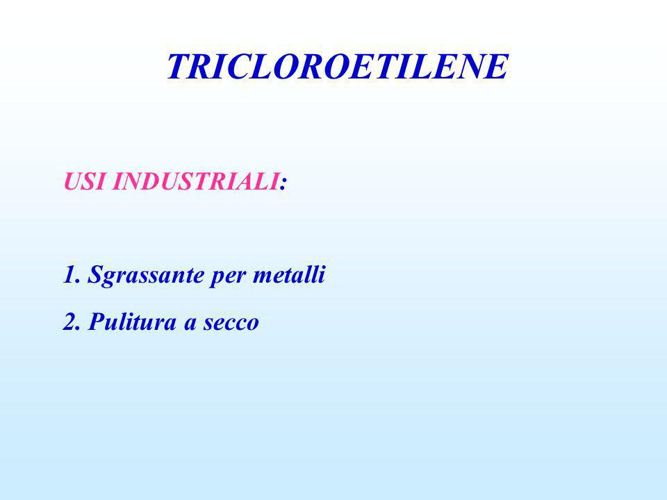 TRICLOROETILENE USI INDUSTRIALI: 1. Sgrassante per metalli