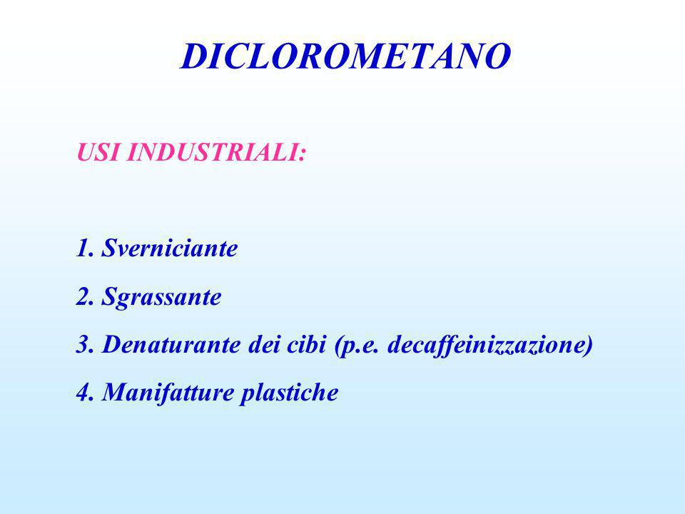 DICLOROMETANO USI INDUSTRIALI: 1. Sverniciante 2. Sgrassante
