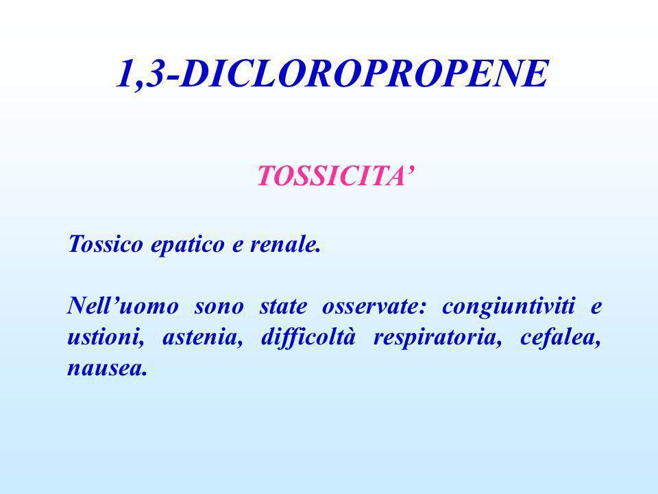 1,3-DICLOROPROPENE TOSSICITA' Tossico epatico e renale.