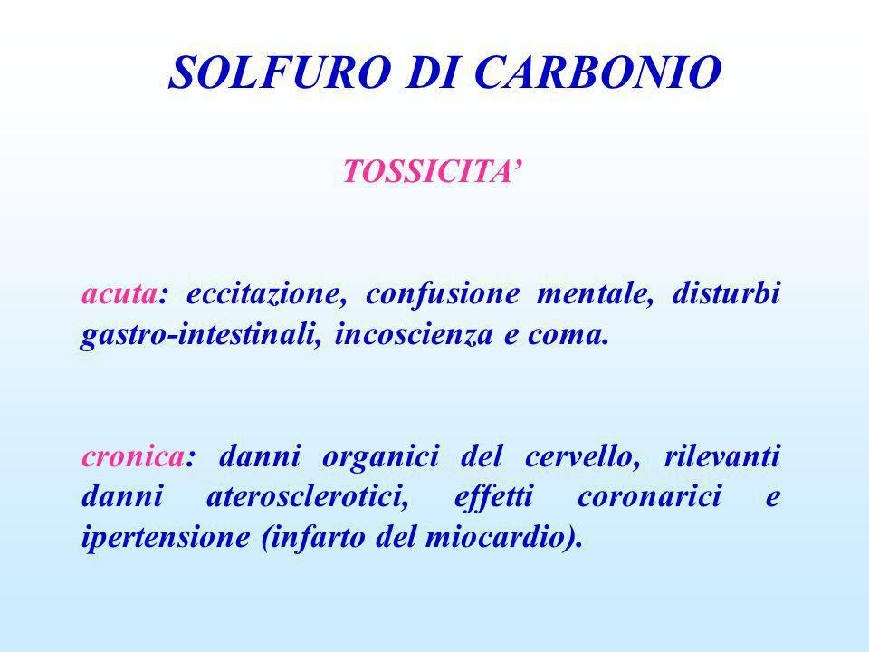SOLFURO DI CARBONIO TOSSICITA'