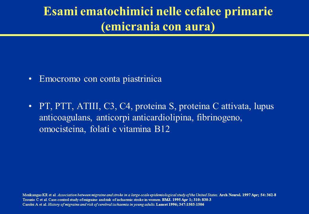 Esami ematochimici nelle cefalee primarie (emicrania con aura)