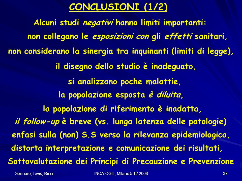 CONCLUSIONI (1/2) Alcuni studi negativi hanno limiti importanti: