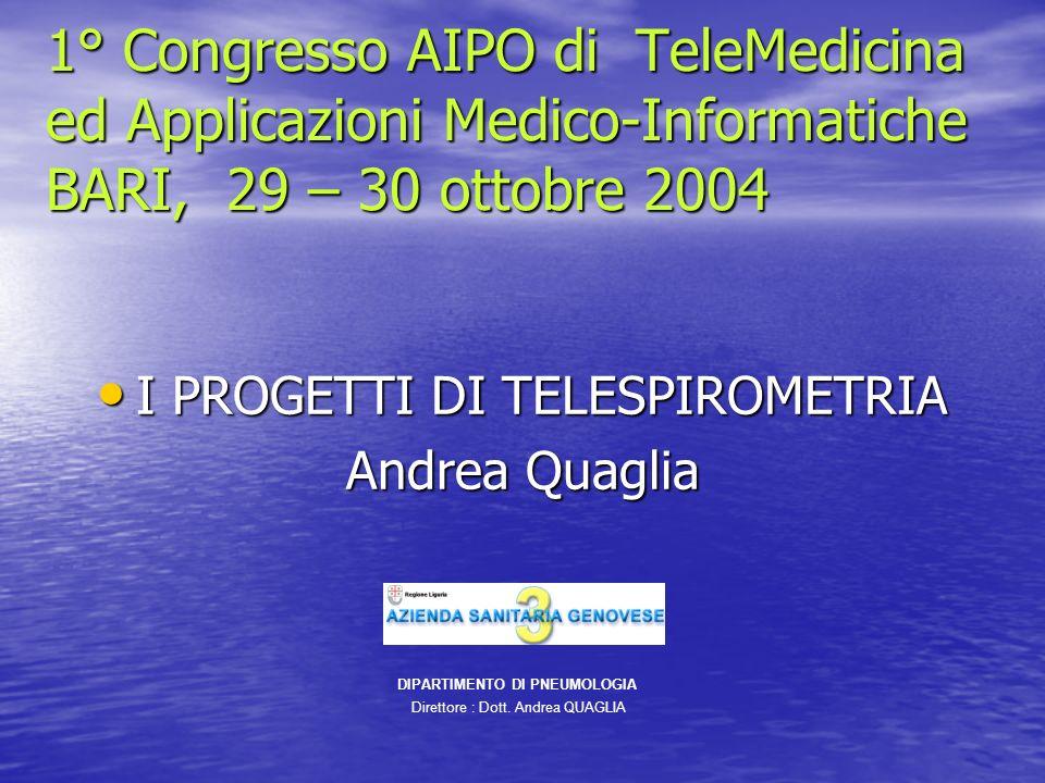 I PROGETTI DI TELESPIROMETRIA