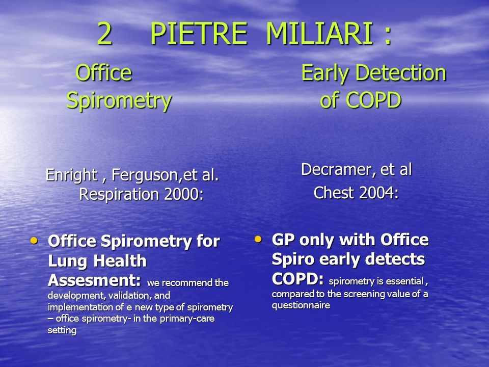 2 PIETRE MILIARI : Office Early Detection Spirometry of COPD