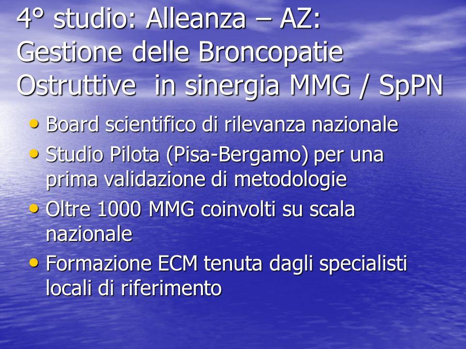 4° studio: Alleanza – AZ: Gestione delle Broncopatie Ostruttive in sinergia MMG / SpPN