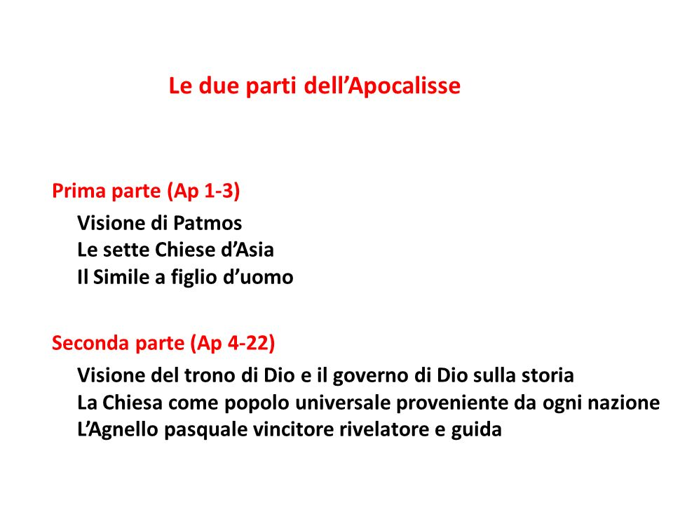 Le due parti dell'Apocalisse