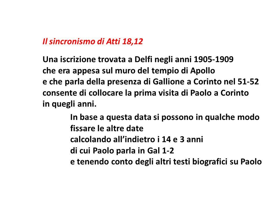Il sincronismo di Atti 18,12 Una iscrizione trovata a Delfi negli anni 1905-1909 che era appesa sul muro del tempio di Apollo e che parla della presenza di Gallione a Corinto nel 51-52 consente di collocare la prima visita di Paolo a Corinto in quegli anni.