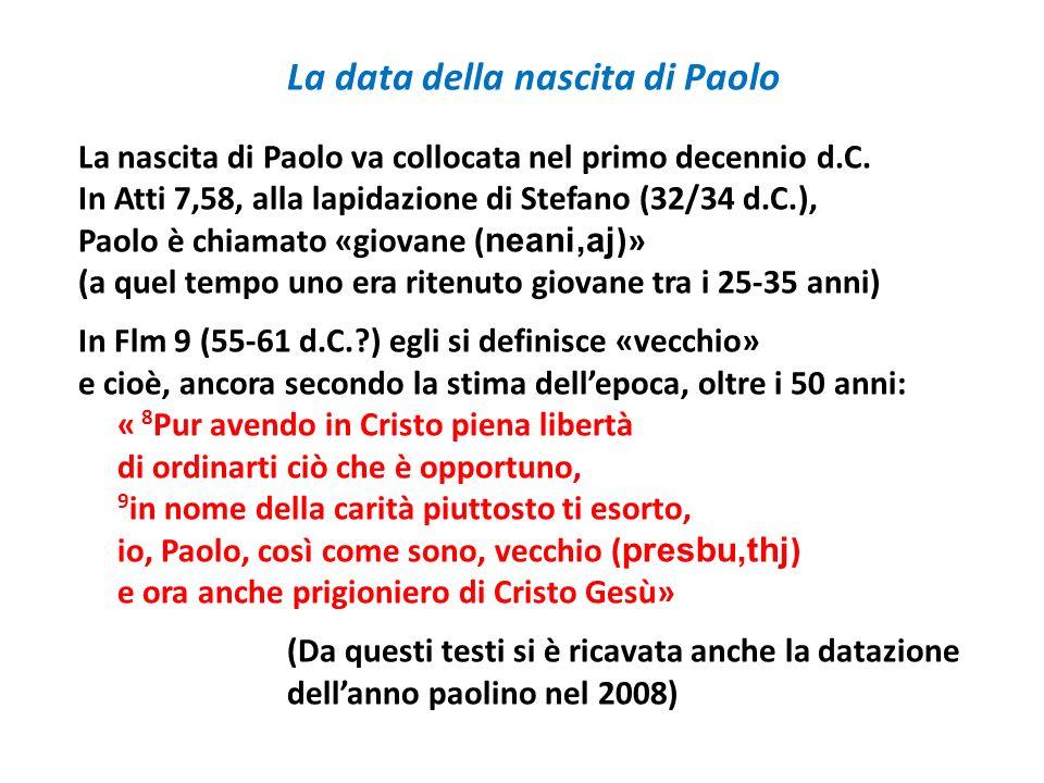 La data della nascita di Paolo
