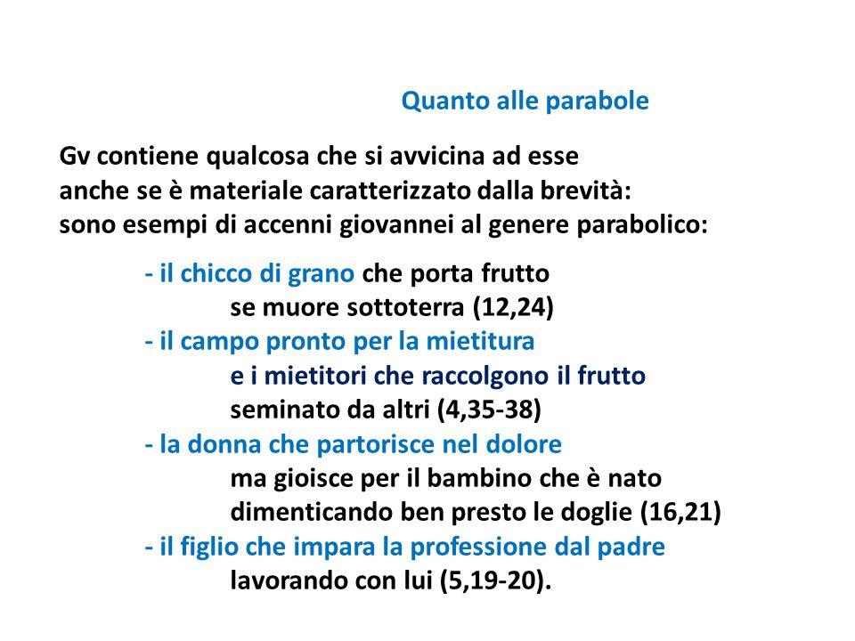 Quanto alle parabole Gv contiene qualcosa che si avvicina ad esse. anche se è materiale caratterizzato dalla brevità: