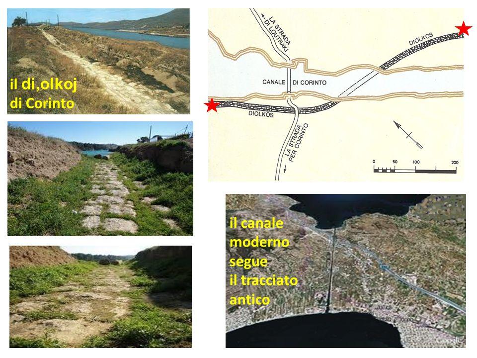 il di,olkoj di Corinto il canale moderno segue il tracciato antico