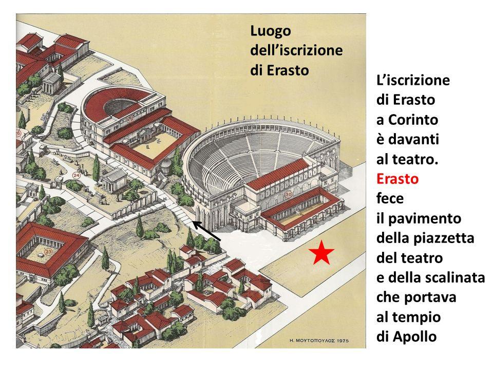 Luogo dell'iscrizione. di Erasto. L'iscrizione. di Erasto. a Corinto. è davanti. al teatro. Erasto.