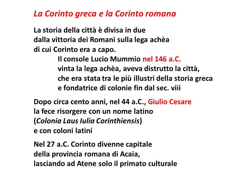 La Corinto greca e la Corinto romana