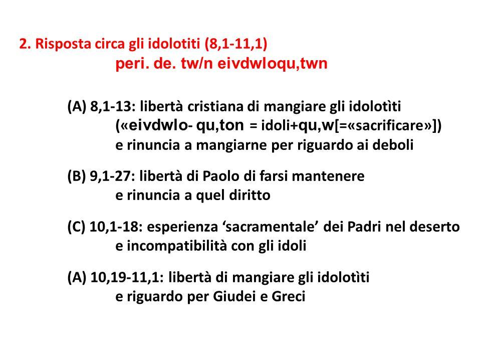 2. Risposta circa gli idolotiti (8,1-11,1) peri. de