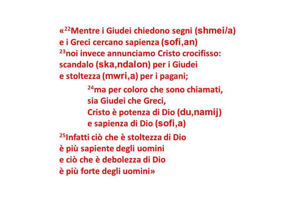 «22Mentre i Giudei chiedono segni (shmei/a) e i Greci cercano sapienza (sofi,an) 23noi invece annunciamo Cristo crocifisso: scandalo (ska,ndalon) per i Giudei e stoltezza (mwri,a) per i pagani; 24ma per coloro che sono chiamati, sia Giudei che Greci, Cristo è potenza di Dio (du,namij) e sapienza di Dio (sofi,a) 25Infatti ciò che è stoltezza di Dio è più sapiente degli uomini e ciò che è debolezza di Dio è più forte degli uomini»