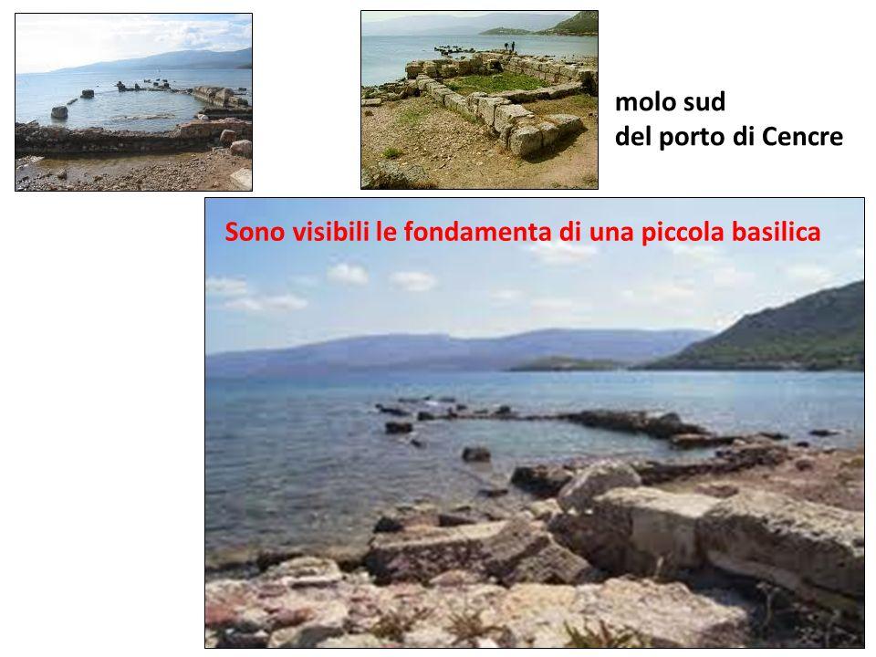 molo sud del porto di Cencre Sono visibili le fondamenta di una piccola basilica