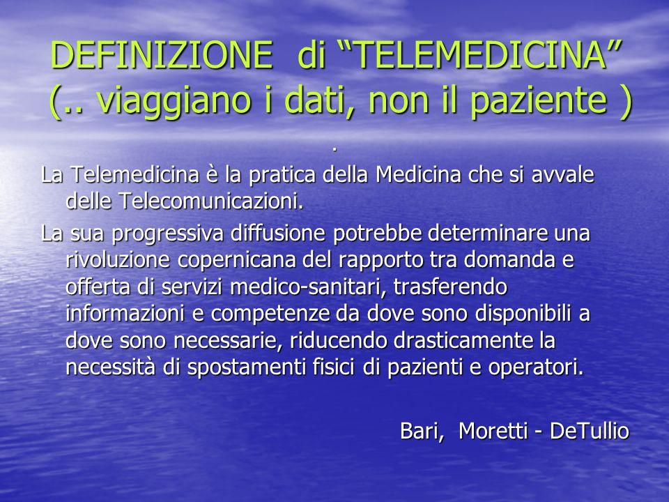 DEFINIZIONE di TELEMEDICINA (.. viaggiano i dati, non il paziente )