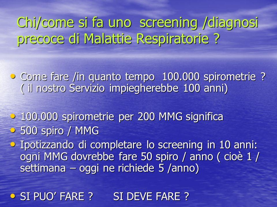 Chi/come si fa uno screening /diagnosi precoce di Malattie Respiratorie
