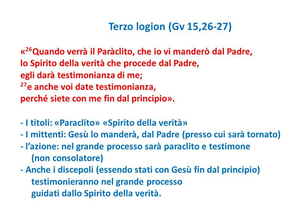 Terzo logion (Gv 15,26-27) «26Quando verrà il Paràclito, che io vi manderò dal Padre, lo Spirito della verità che procede dal Padre,