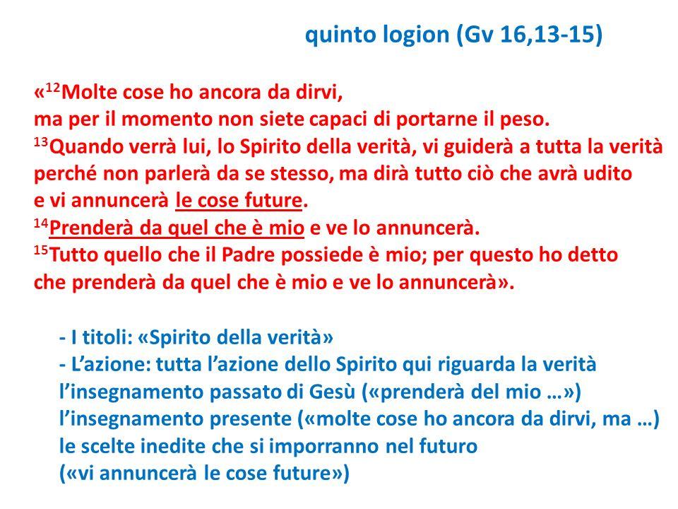 quinto logion (Gv 16,13-15) «12Molte cose ho ancora da dirvi, ma per il momento non siete capaci di portarne il peso.