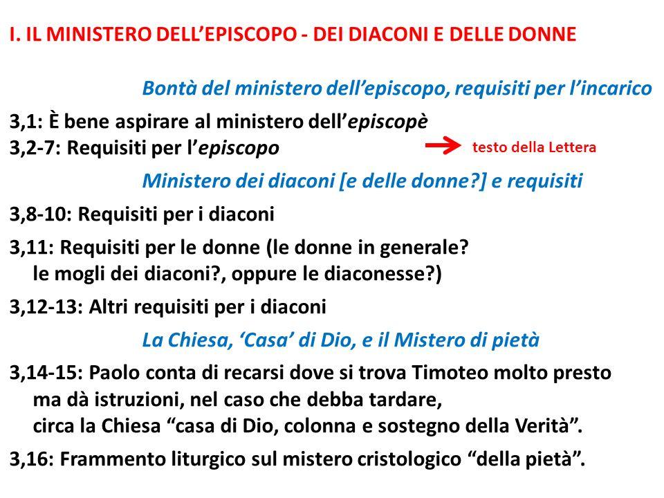 I. IL MINISTERO DELL'EPISCOPO - DEI DIACONI E DELLE DONNE