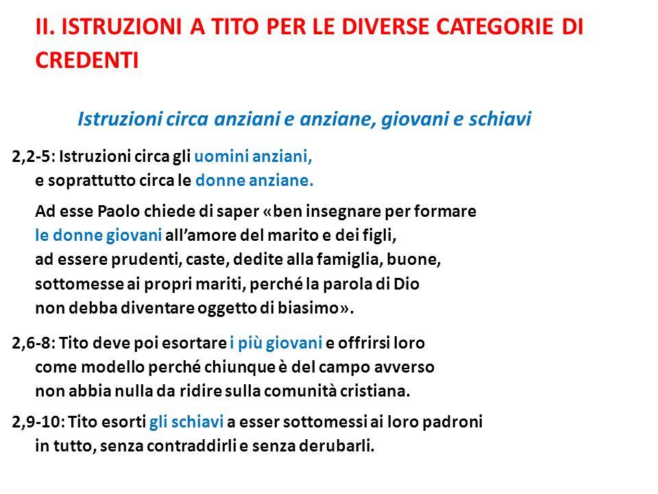 II. ISTRUZIONI A TITO PER LE DIVERSE CATEGORIE DI CREDENTI