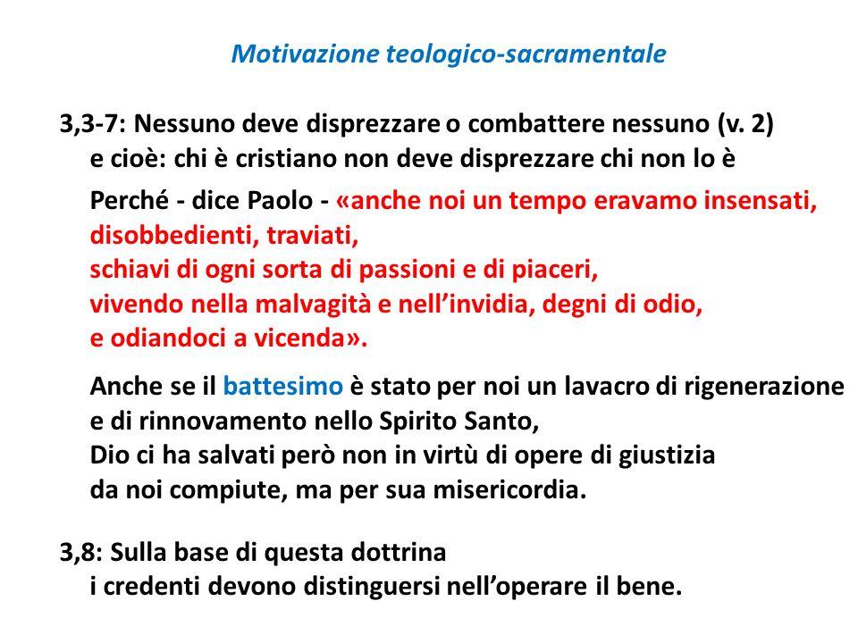 Motivazione teologico-sacramentale