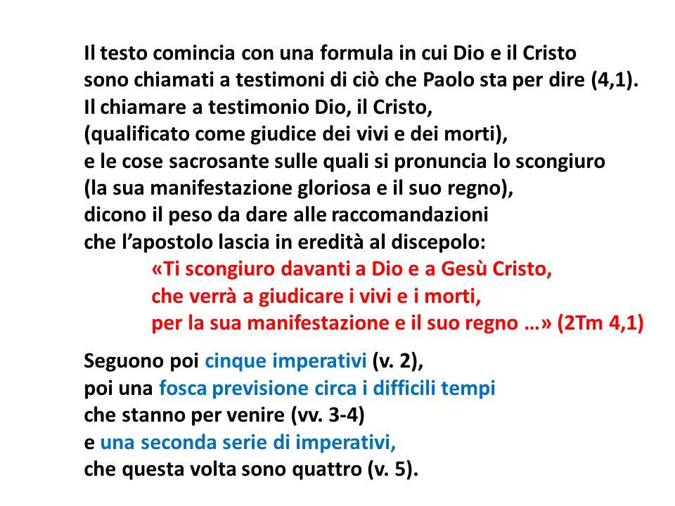 Il testo comincia con una formula in cui Dio e il Cristo