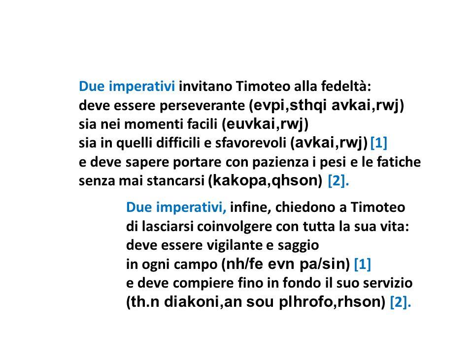 Due imperativi invitano Timoteo alla fedeltà: