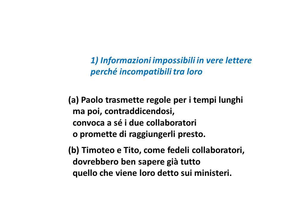 1) Informazioni impossibili in vere lettere