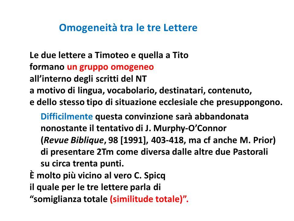 Omogeneità tra le tre Lettere