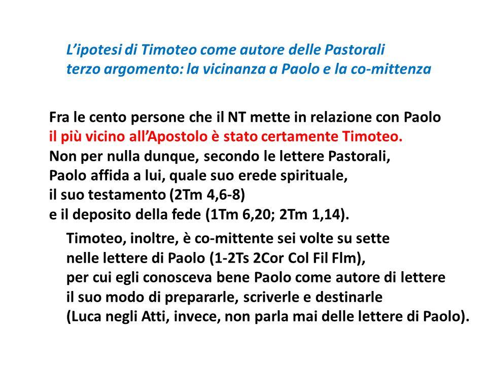 L'ipotesi di Timoteo come autore delle Pastorali