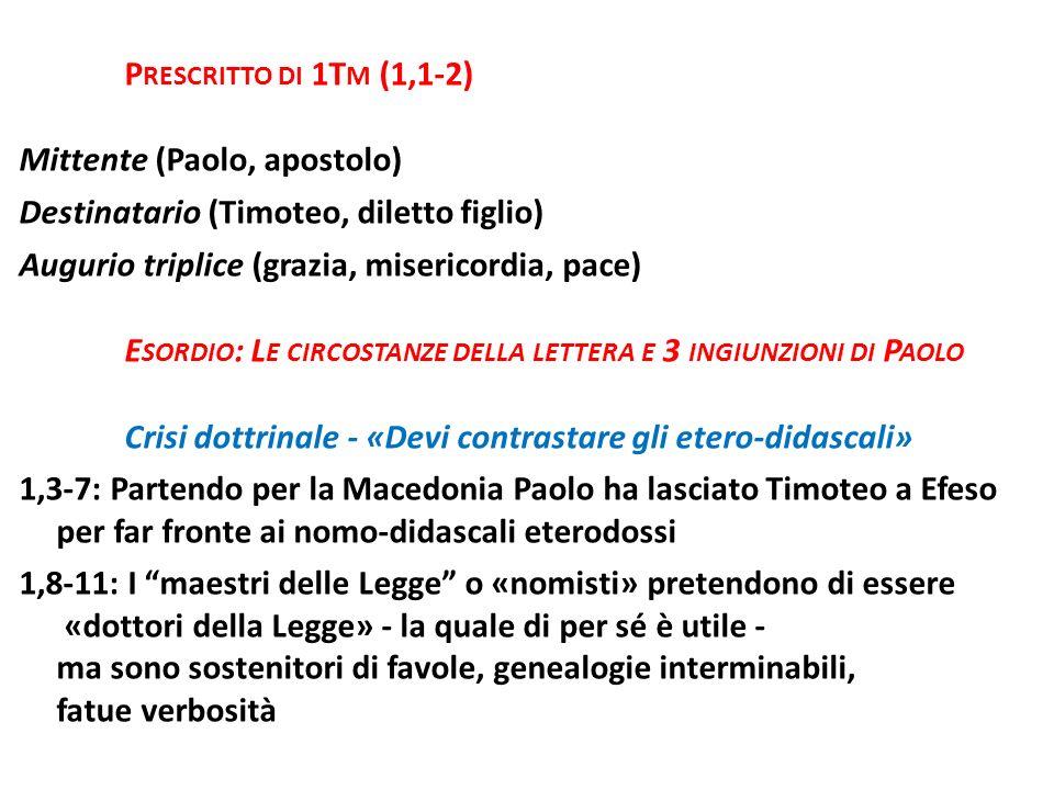 Prescritto di 1Tm (1,1-2) Mittente (Paolo, apostolo) Destinatario (Timoteo, diletto figlio) Augurio triplice (grazia, misericordia, pace)