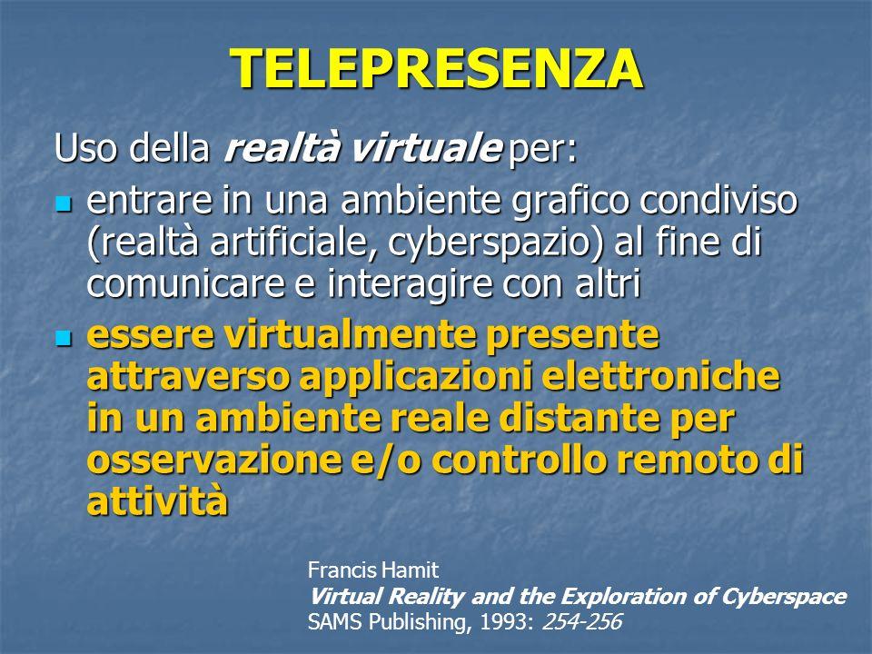 TELEPRESENZA Uso della realtà virtuale per: