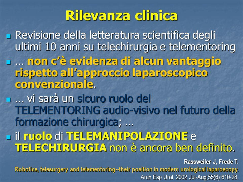 Rilevanza clinica Revisione della letteratura scientifica degli ultimi 10 anni su telechirurgia e telementoring.
