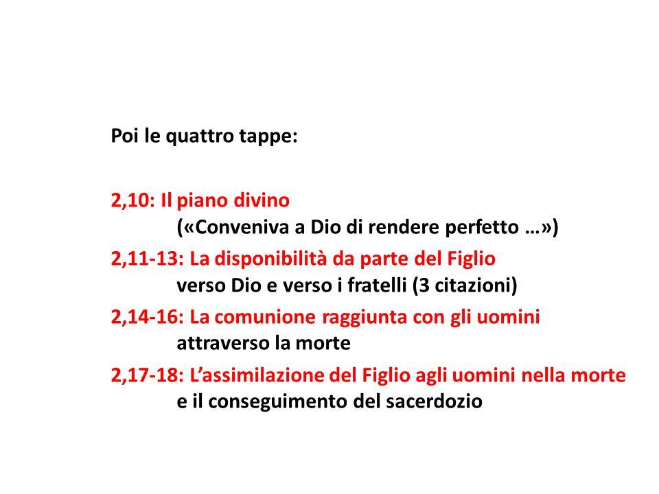 Poi le quattro tappe: 2,10: Il piano divino. («Conveniva a Dio di rendere perfetto …») 2,11-13: La disponibilità da parte del Figlio.